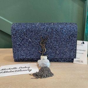 NEW Saint Laurent Chain Tassel Crystal Blue Bag